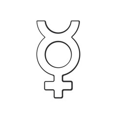 Vector illustration. Hand drawn doodle with transgender Mercury symbol. Gender pictogram. Cartoon sketch. Decoration for greeting cards, posters, emblems