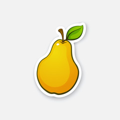 Vector illustration. Pear with stem and leaf. Healthy vegetarian food. Cartoon sticker in comics style with contour. Decoration for greeting cards, posters, patches, prints for clothes, emblems