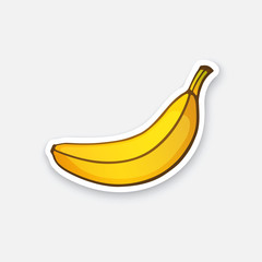 Vector illustration. Not peeled banana. Healthy vegetarian food. Cartoon sticker in comics style with contour. Decoration for greeting cards, posters, patches, prints for clothes, emblems