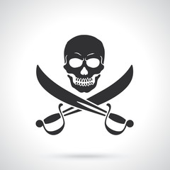 Vector illustration. Silhouette of Jolly Roger with crossed sabers. Template or pattern. Decoration for greeting cards, wallpapers, emblems
