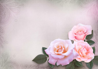 Greeting card with pink roses on a romantic vintage background