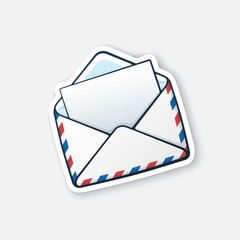 Vector illustration. Opened white mail envelope. Incoming message has been read. Cartoon sticker in comics style with contour. Decoration for greeting cards, posters, patches, prints for clothes