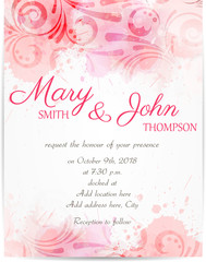 Wedding invitation template with abstract florals