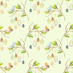 Seamless pattern with Easter eggs on the spring tree branches, hand drawn isolated on a light green background