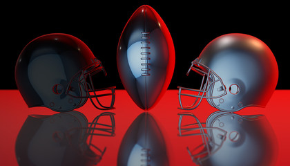 American football black and gray helmets and silver trophy ball on black dark background, 3d render