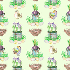Seamless pattern with watercolor Easter bird eggs, nests, crocus flowers in the pots and cute birds, hand drawn on a light green background