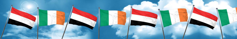 Yemen flag with Ireland flag, 3D rendering