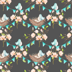 Seamless pattern with birds, nests and eggs on the garlands of the blue flags on spring magnolia tree branches, hand drawn on a dark background
