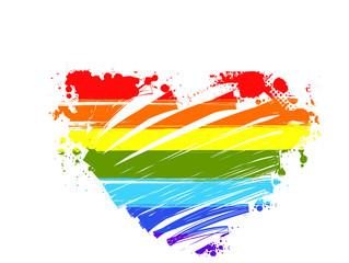 Rainbow grunge heart