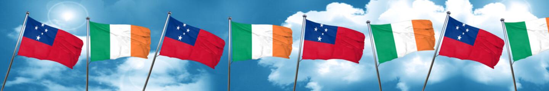 Samoa flag with Ireland flag, 3D rendering