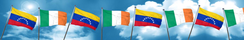Venezuela flag with Ireland flag, 3D rendering