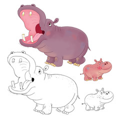 Hippopotamus. Coloring page. Illustration for children. Funny cartoon characters