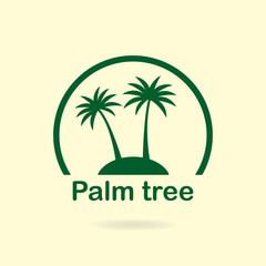 Palm tree icon or sign. Symbol of two palm trees silhouette on the island. Vector illustration.