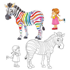 Zebra. Coloring page. Illustration for children. Funny cartoon characters