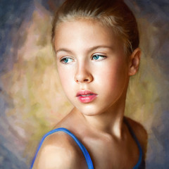 Portrait of a young girl on a colorful background.