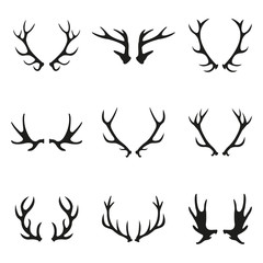 Deer antlers icon set. Horns icon collection isolated on white background. Vector illustration.