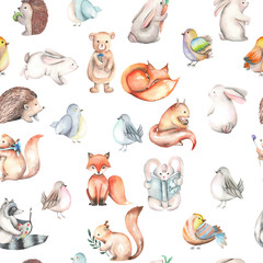 Seamless pattern with watercolor cute forest animals, hand drawn isolated on a white background