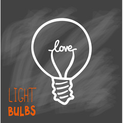 Light bulbs icon. Concept of big ideas inspiration, innovation, invention, effective thinking. CFL lamp.  Isolated. Vector illustration.  Idea symbol. Vector. sketch. Sign. On chalck background