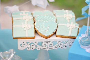 Delicious sweet cookies, decorated in wedding style