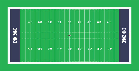 American football field top view. illustration.