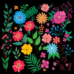 Flowers pattern on black background. Colorful flowers painting