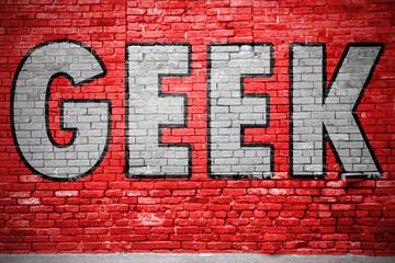 Geek Ziegelsteinmauer Graffiti