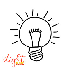Light bulb icon. Concept of big ideas inspiration, innovation, invention, effective thinking. Isolated. Vector illustration.  Idea symbol. Vector. sketch. Hand-drawn doodle sign.