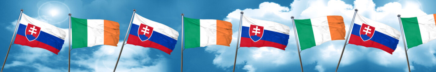 Slovakia flag with Ireland flag, 3D rendering