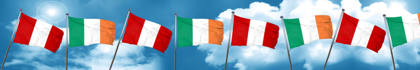 Peru flag with Ireland flag, 3D rendering