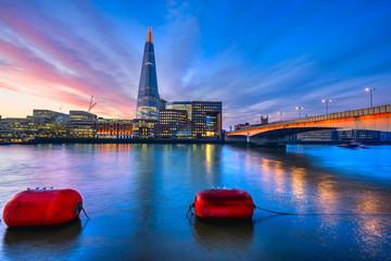 sunrise over London, with the Shard and London Bridge. London, U