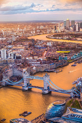 Tower Bridge, view from the Shard, London, UK