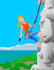Climber blonde girl clings to the safety belts on a cliff. Vector illustration.
