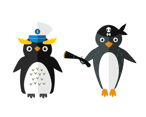 Penguin sailor pirate vector animal character illustration.