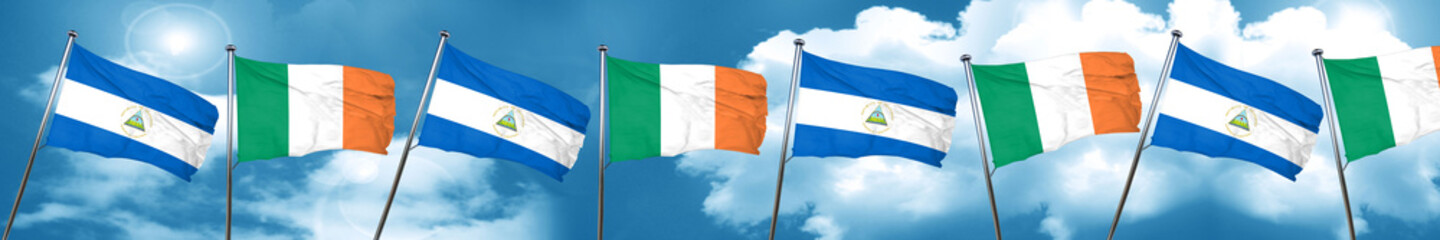 nicaragua flag with Ireland flag, 3D rendering