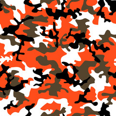 Seamless fashion orange camouflage pattern