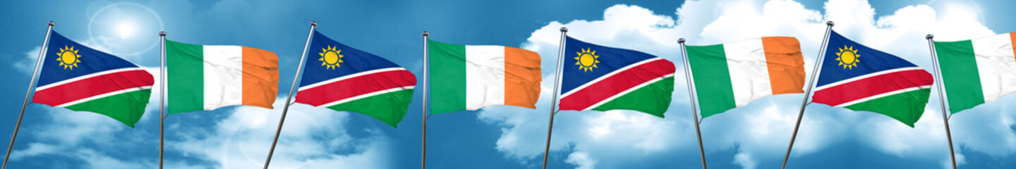 Namibia flag with Ireland flag, 3D rendering