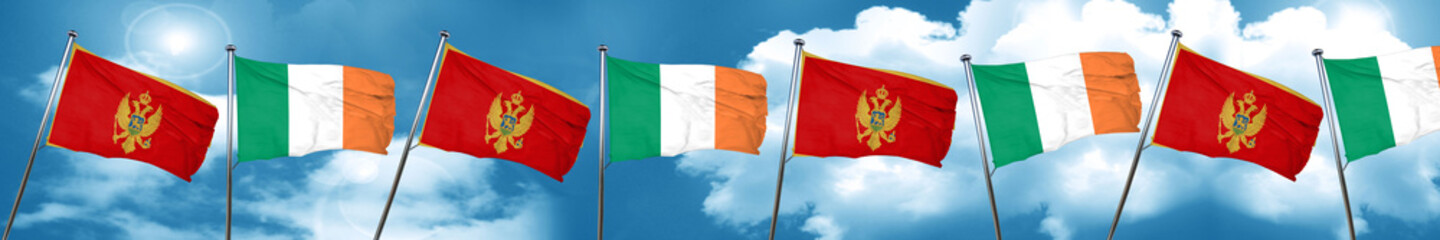 Montenegro flag with Ireland flag, 3D rendering