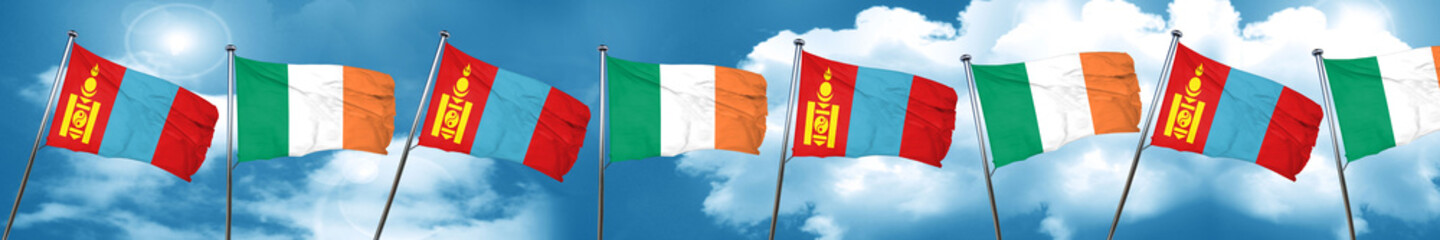 Mongolia flag with Ireland flag, 3D rendering