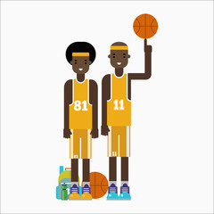 Basketball player team character vector.