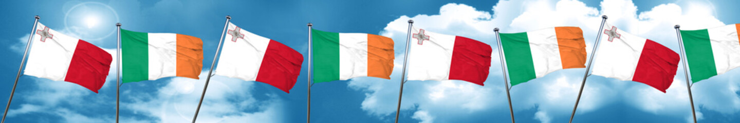 Malta flag with Ireland flag, 3D rendering