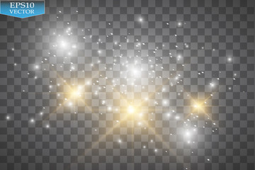 Glow light effect. Vector illustration. Christmas flash. Dust. Vector glowing stars, lights and sparkles. Transparent effects