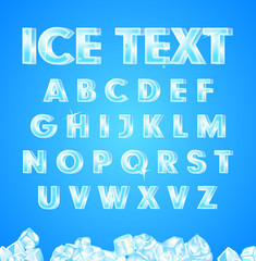 Vector ice alphabet on blue background and  the cubes.