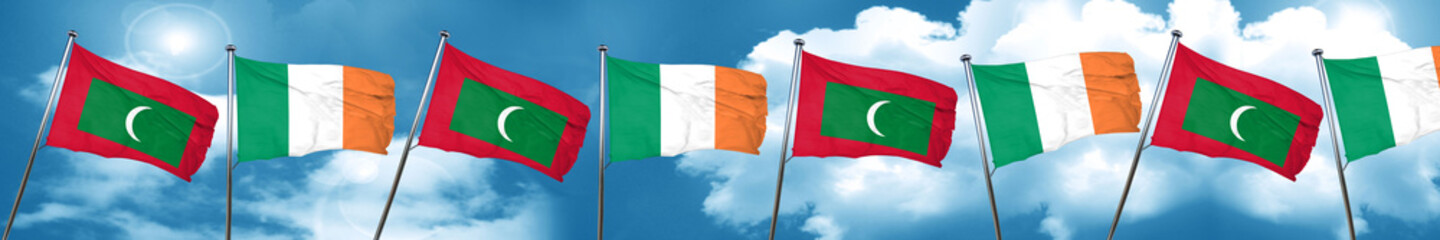 Maldives flag with Ireland flag, 3D rendering