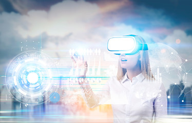 Woman in vr glasses and graphs, city