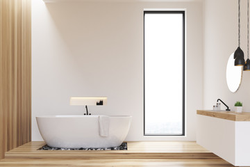 White and wooden walls bathroom