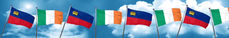 Liechtenstein flag with Ireland flag, 3D rendering