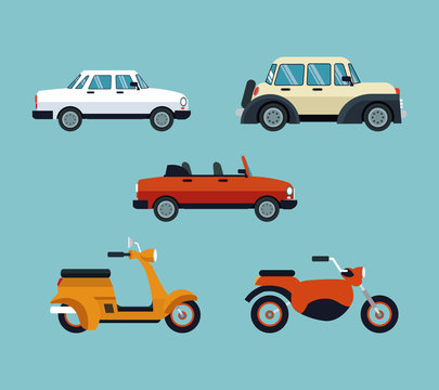 collection cars motorcycles expensive vector illustration eps 10