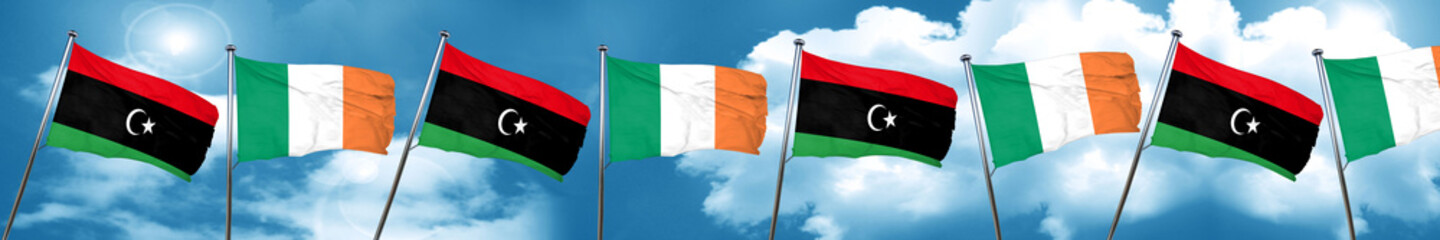 Libya flag with Ireland flag, 3D rendering