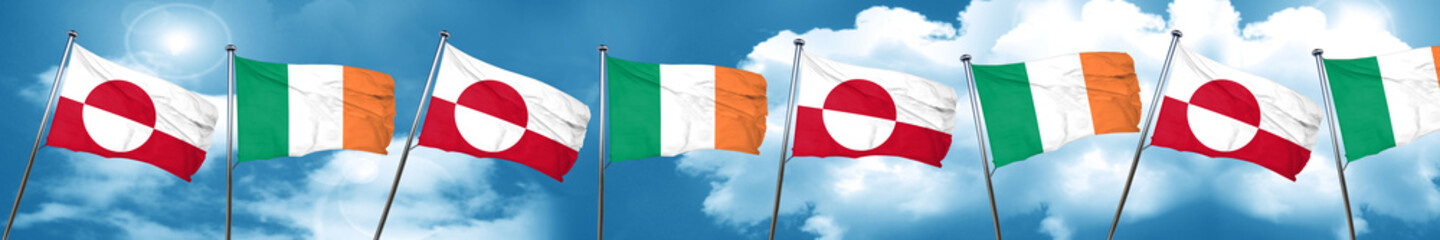 greenland flag with Ireland flag, 3D rendering