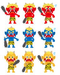 Door stickers Monster 鬼の集合イラスト